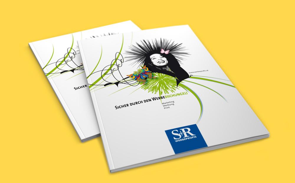 S&R die Werbeprofis A4 Produktfolder – Pixelflüsterer professionelles Print Design aus Wien.