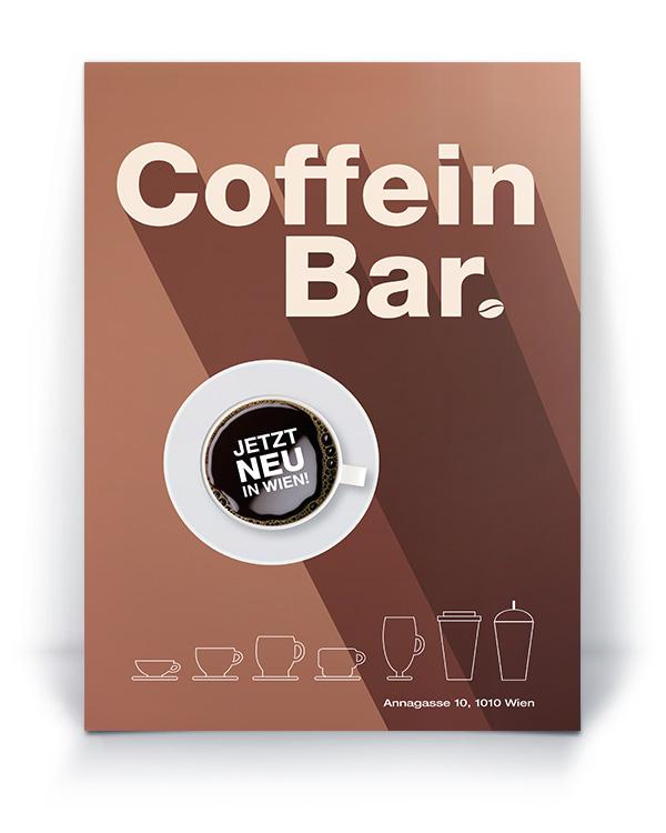 Coffein Bar Plakat – Pixelflüsterer professionelles Print Design aus Wien.