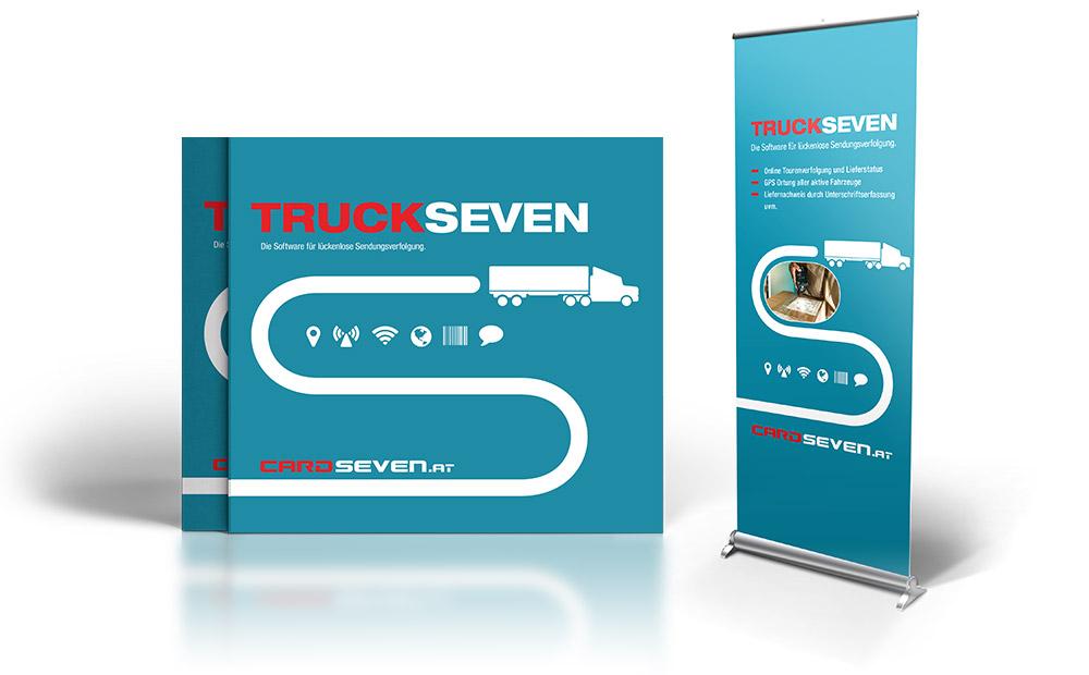 Truckseven Produktfolder und RollUp – Pixelflüsterer professionelles Print Design aus Wien.