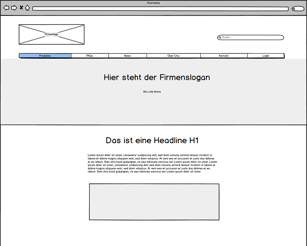 Website Wireframe Header
