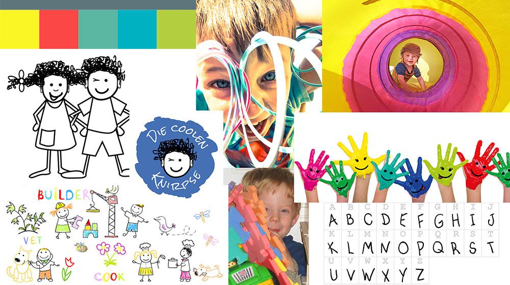 Moodboard, eine der Kreativitätstechniken, zum Thema Kindergarten