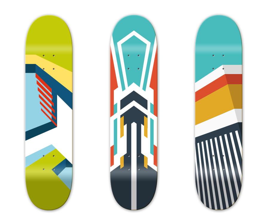 3 verschiedene Designmuster für Skateboards – Pixelflüsterer professionelles Print Design aus Wien.