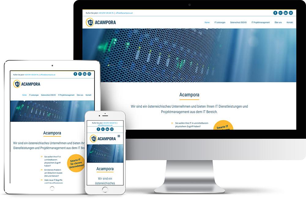 Webseitenerstellung für Acampora – Pixelflüsterer professionelles Web Design aus Wien