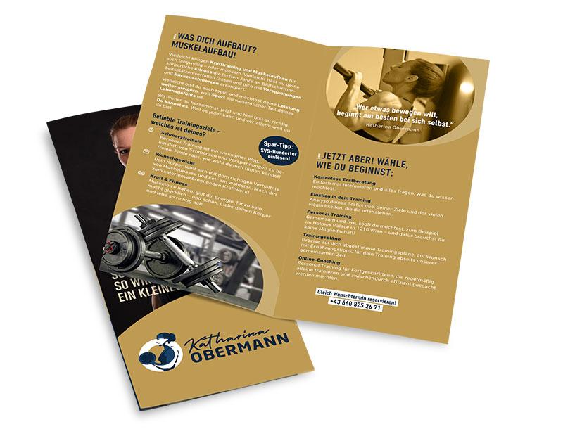 Folder für Personal Training – Pixelflüsterer professionelles Print Design aus Wien.